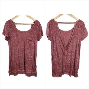 American Eagle Cut Out Deep Back Red Heather Tee